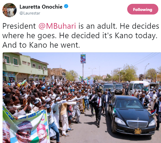 Lauretta Onochie replies Nigerians attacking President Buhari for attending a wedding in Kano and not visiting #Dapchi
