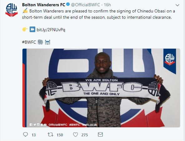 Nigerian footballer Chinedu Obasi joins Bolton Wanderers