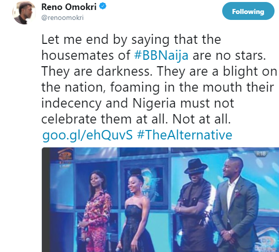 #BBNaija?housemates are no stars, they are darkness and Nigeria must not celebrate them at all - Reno Omokri