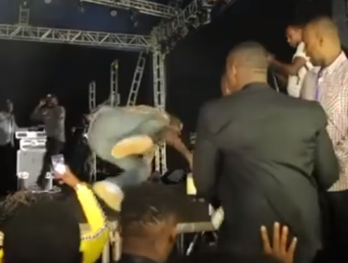 Full Video: Davido falls off stage in Rwanda but he recovers like a