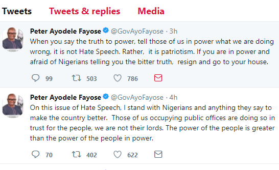 #HateSpeech:?I stand with Nigerians and anything they say to make the country better - Governor Fayose