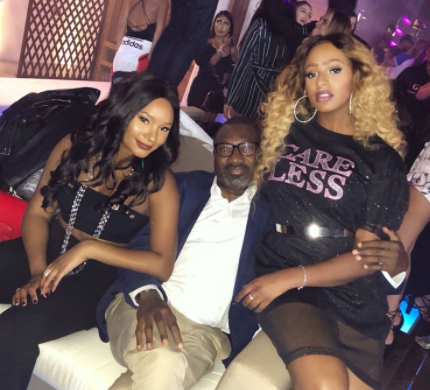 Billionaire businessman, Femi Otedola, goes clubbing with his daughters in Dubai(photo)