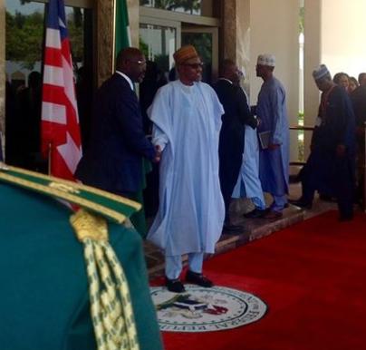 President Buhari hosts Liberian president, George Weah, inside Aso Rock