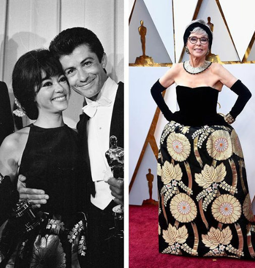 Rita Moreno shows up to the Oscars wearing the same dress she wore to the same ceremony 56 years ago