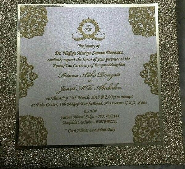 Photo: Wedding invite of Aliko Dangote