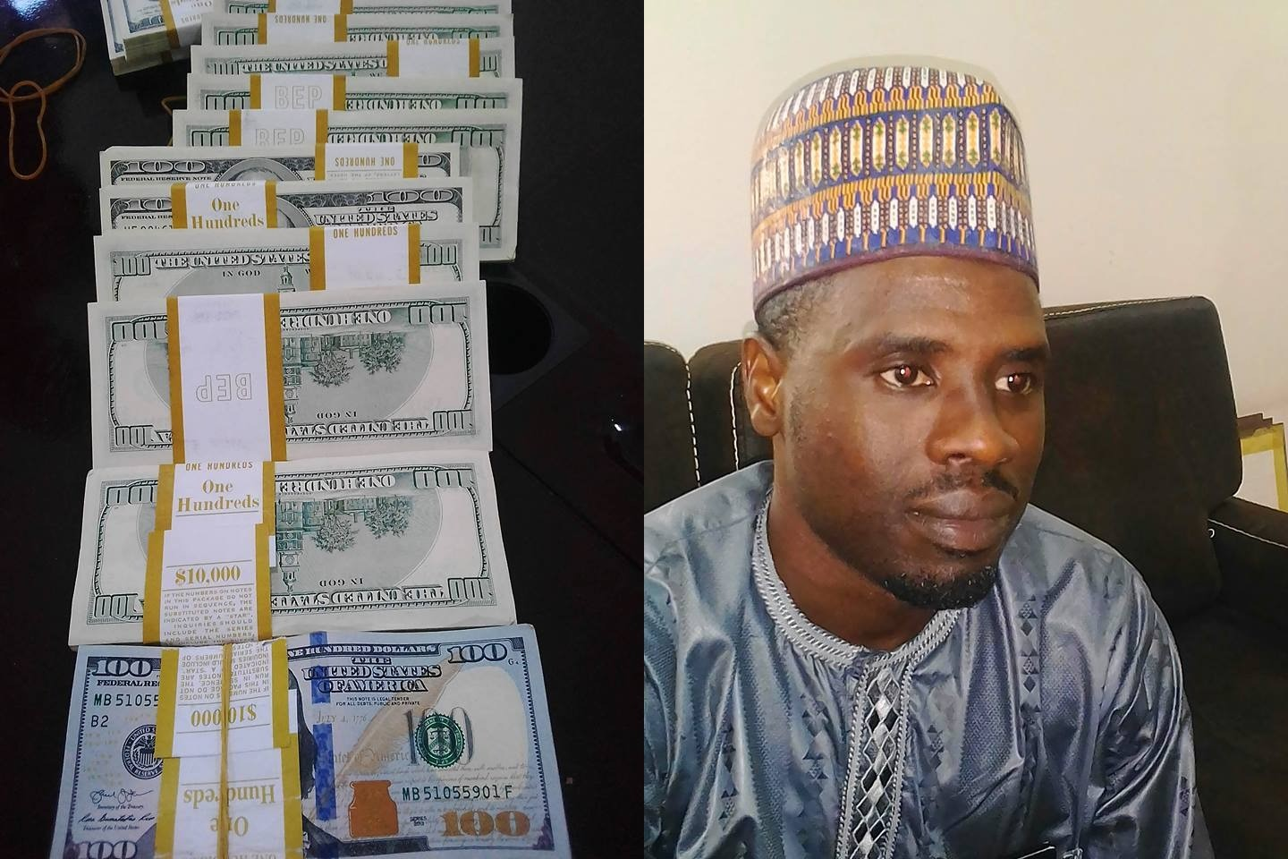 Photos: Customs arrest man  with $375,000 at Kaduna International airport