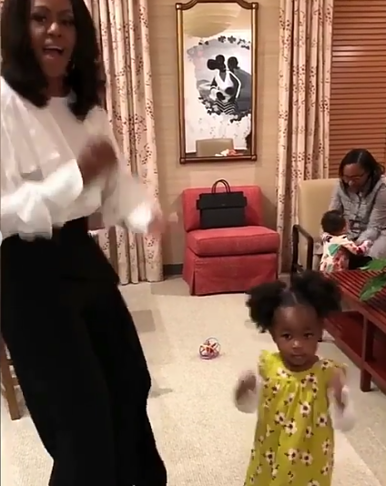 Aww... Michelle Obama warms hearts after she meets and dances with 2-year-old girl amazed by her portrait
