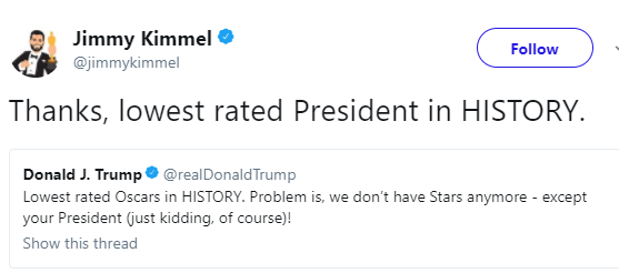 Oscars host, Jimmy Kimmel claps back at President Donald Trump for dissing the 2018 Oscars