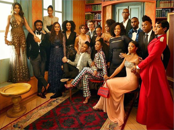 Chimamanda Adichie, her husband, Gabrielle Union, Janelle Monae and more celebrities pose for iconic photo at Vanity Fair Oscar party