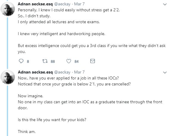 Twitter user lists the difference between attending a Federal University and a private university in Nigeria