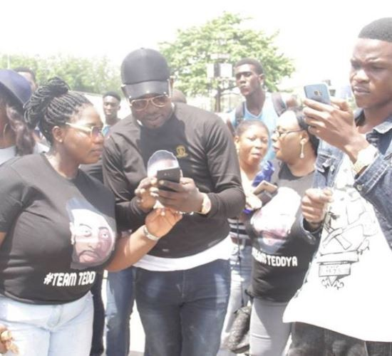 Photos: Fans of BBN Housemate, Teddy A turn up for