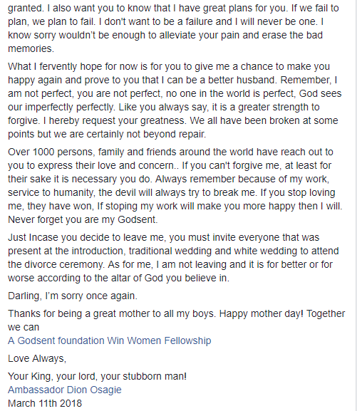 Popular philanthropist Amb. Dion Osagie who battered his wife months ago apologises and it