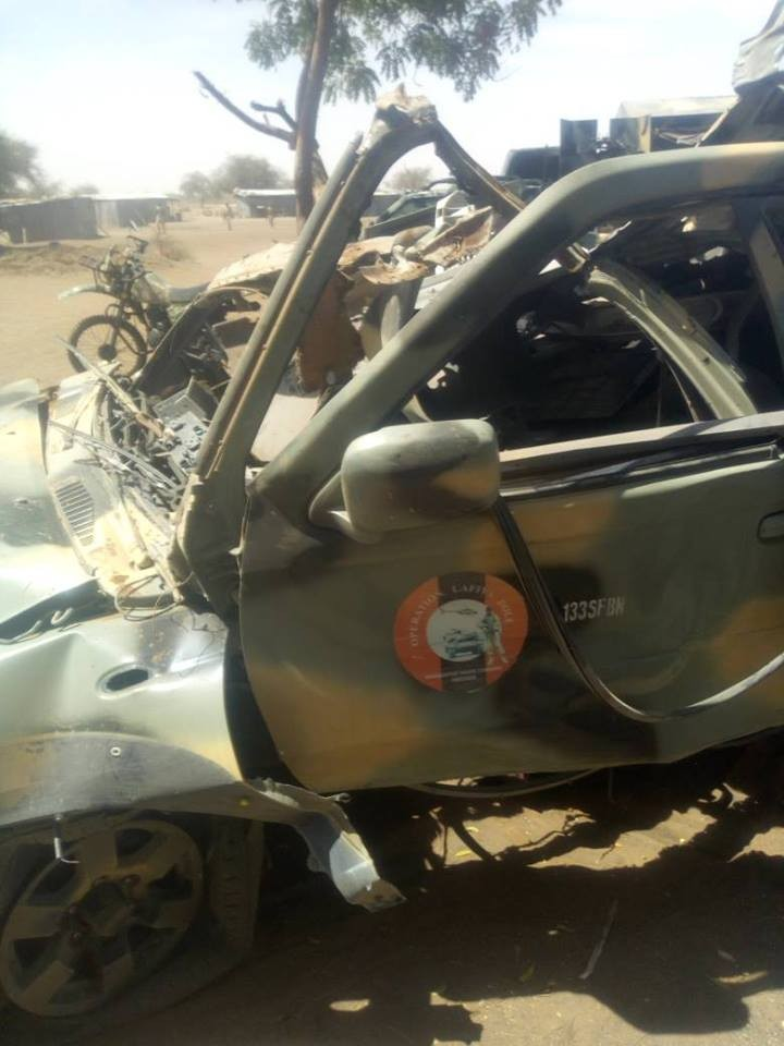 Photos: Heavy IED explosion kills 4 soldiers in Borno