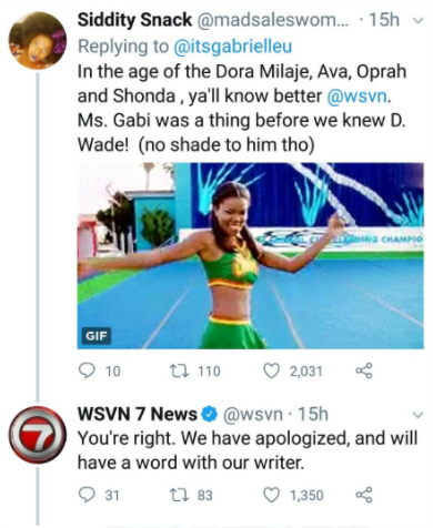 """I have a name"" TV station slammed mercilessly for referring to Gabrielle Union as Dwayne Wade's wife"