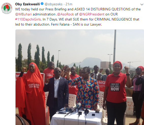 BBOG to sue FG for criminal negligence over the recent abduction of 110 #Dapchi female students