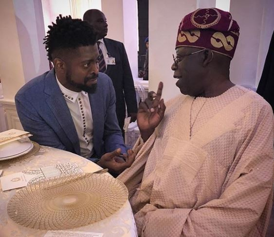 Caption this photo of Basketmouth and Asiwaju Bola Tinubu