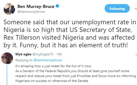 Twitter user tackles Ben Bruce over his remarks about Rex Tillerson