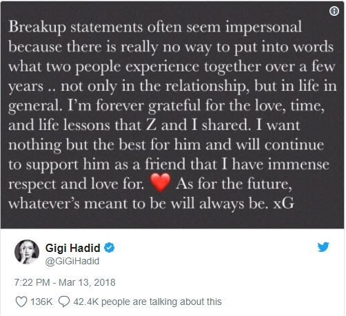 ?Zayn Malik and Gigi Hadid announce split in loving messages