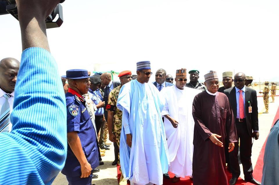 Photos: President Buhari arrives Maiduguri, proceeds to Dapchi to meet parents of missing school girls