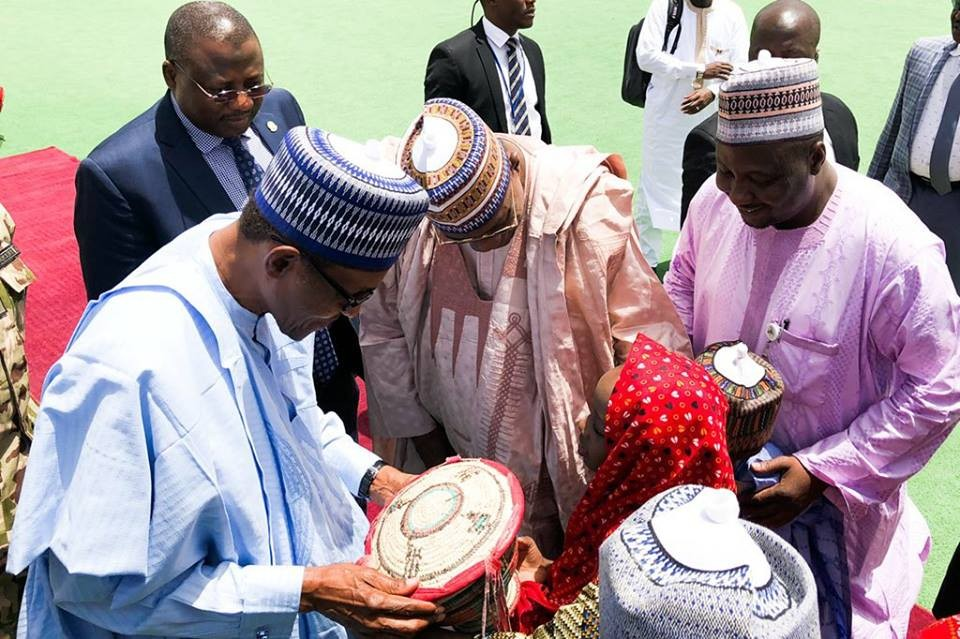 Photos: President Buhari arrives Yobe state, holds closed door meeting with stakeholders
