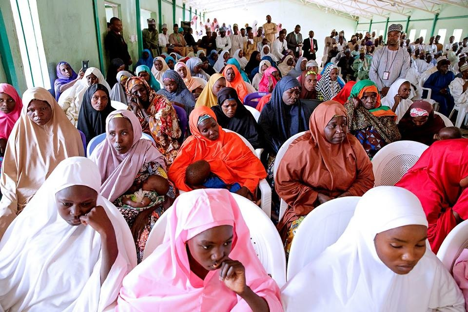 Photos: President Buhari visits Dapchi school where 110 female students were abducted, meets their parents