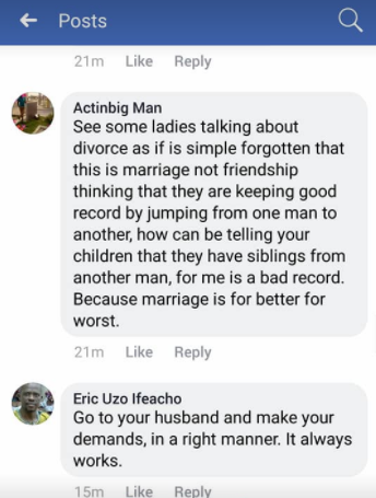 Check out the cringe-worthy advise given to a woman who brought her marital problems to Facebook for advice