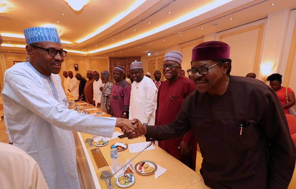 Photos: President Buhari meets Saraki, Dogara at the state house Abuja
