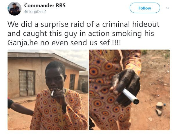 Unbothered man arrested during a raid in Lagos continues smoking his cannabis while in Police custody (Photos)