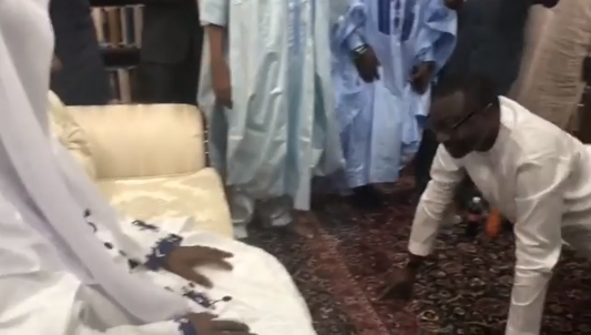 Expensive greetings! Go Down Low...Billionaire businessman, Femi Otedola prostrates to the Emir