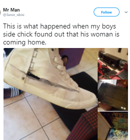 South African side chic destroys her boyfriend?s properties after finding out the main chic is coming home