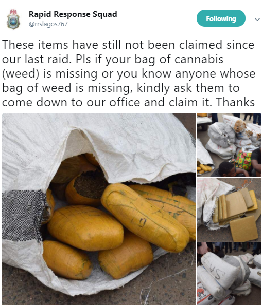 Lol!  Lagos State Rapid Respond Squad  calls on citizens to come and claim their missing bags of weeds