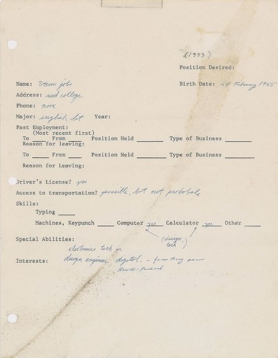 One Page Job Application Filled Out By Steve Jobs More Than Four