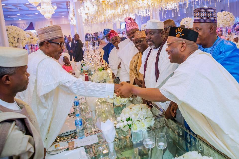 Photos: President Buhari and his wife, Aisha attend wedding reception of VP Yemi Osinbajo
