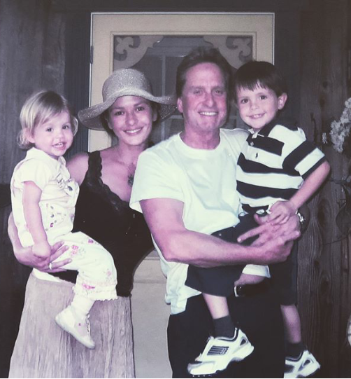 Catherine Zeta Jones and her husband Michael Douglas recreate old photo with their kids