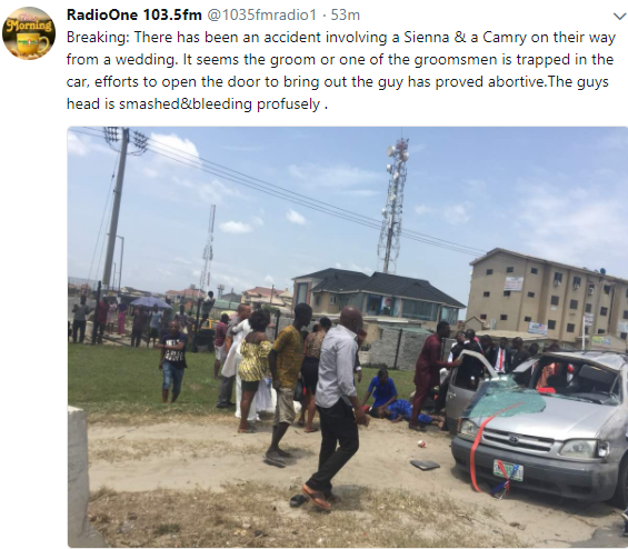 Photos: Groom feared dead as couple returning from their church wedding involved in a ghastly motor accident in Lagos