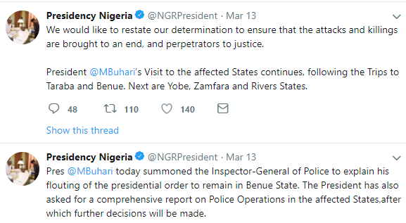 ''President Buhari did not query IGP for flouting his order to relocate to Benue'' police spokesperson, Jimoh Ibrahim, says