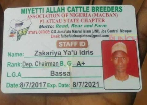 ID card belonging to the Deputy Chairman of Miyetti Allah reportedly found at scene?of?Plateau killings