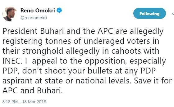 Reno Omokri alleges that?APC is registering tonnes of underage voters in their stronghold