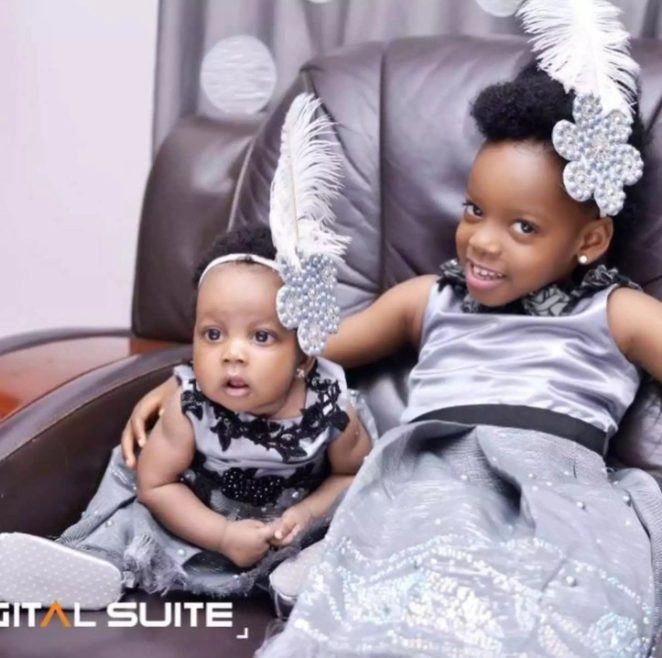 Okon Lagos and his family slay in grey as they dedicate his second child