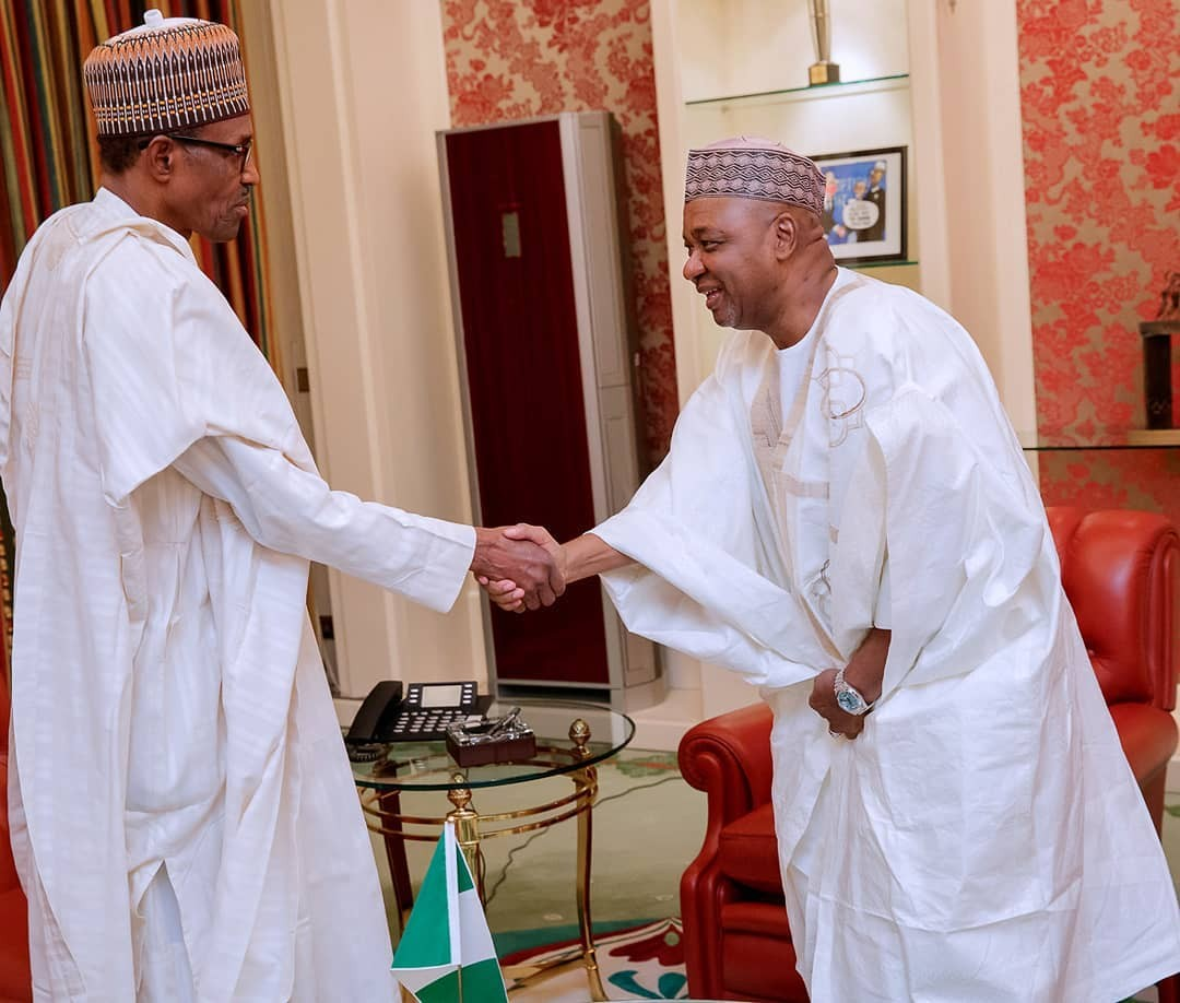President Buhari in closed door meeting with former Vice President Namadi Sambo