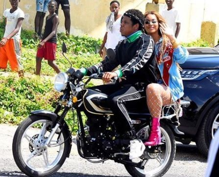 Power couple Jay-Z and Beyonce cause a stir as they go for a bike ride in Jamaica?(Photos/Video)