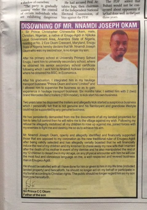 Nigerian dad spends 400k on newspaper advert to publicly disown his son
