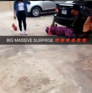 Aww! The moment a mother rolled on the floor in happiness after her only child based in UK came home to surprise her
