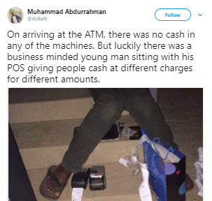 See the smart way this business man made money after the ATM ran out of cash.