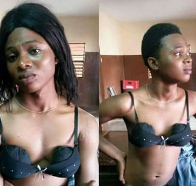 Young man who dressed as a lady to a nightclub apprehended after deceiving a man to buy him shawarma, suya and  beer.....lol(photos)