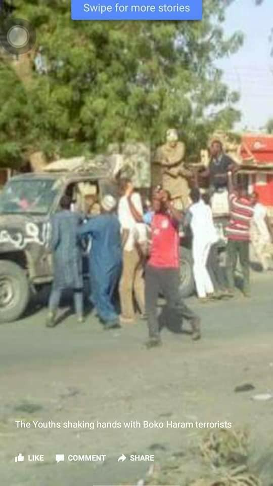 More photos of Dapchi residents celebrating Boko Haram members after returning their daughters