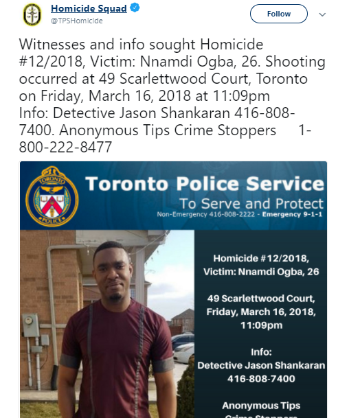Innocent 26-year-old Nigerian man killed in Canada in neighborhood clash (photos/video)