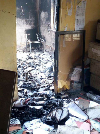 Suspected armed cultists set police station ablaze in Bayelsa ([photos)