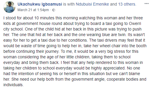 Man shares  story of a physically challenged mum of three who makes it a duty to take her kids to school daily