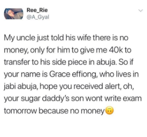 Twitter stories! Man tells his wife he is broke then sends his sidechic N40k
